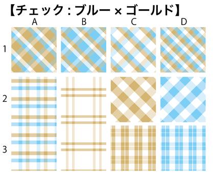 Pattern check (blue × gold)