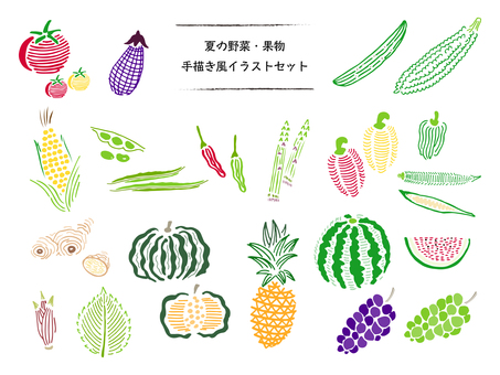 Hand-drawn illustration of summer vegetables and fruits 01