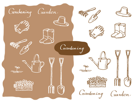 Gardening Supplies Line drawing - Sepia