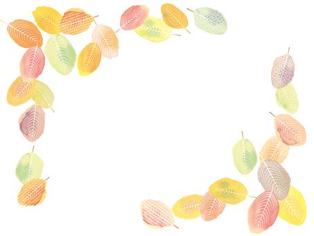 フレーム枠秋紅葉葉っぱ落葉背景飾り水彩絵