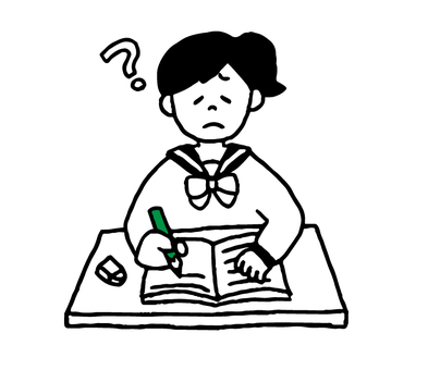 Female student who does not understand study (simple)