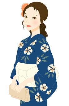 Yukata appearance pencil pattern blue