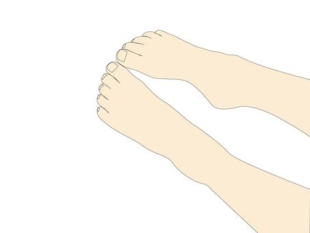 はだしの両足