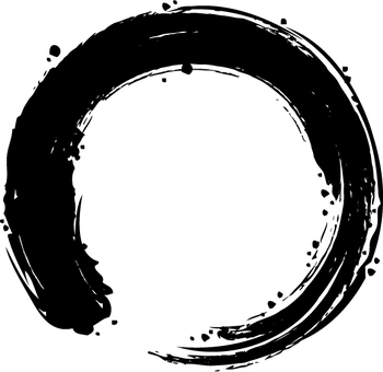 A circle written with a brush (black)