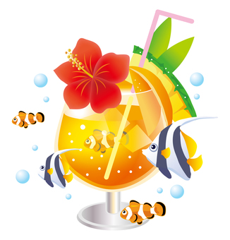 Tropical drink and fish 2