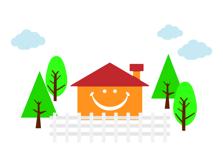 A smiling house with fences and trees