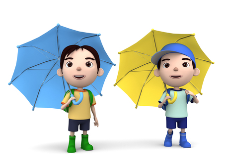 3D illustration boy looking at an umbrella looking up