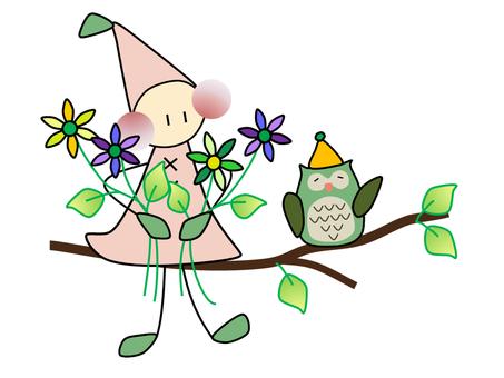 Childhood _ flowers _ owl