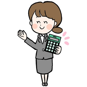 Illustration of a woman with a calculator