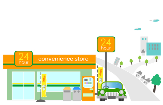 Convenience store, cityscape with convenience store