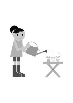 Gardening girls (monochrome)