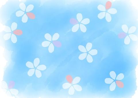 Watercolor flower background aqua