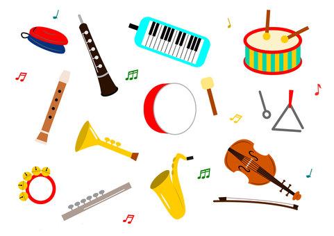Various musical instruments set