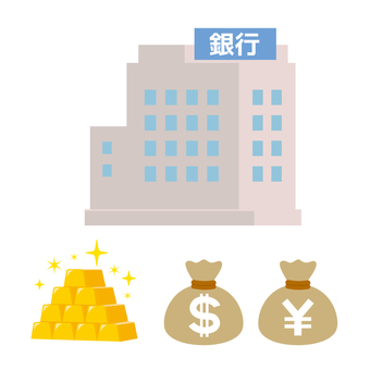 Illustration of bank Money gold