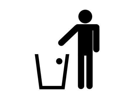 People silhouette trash bin