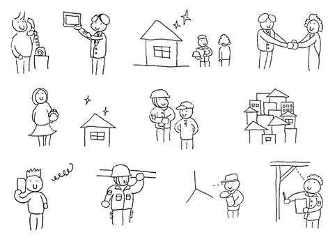 Illustration cut collection of remodeling system (monochrome)