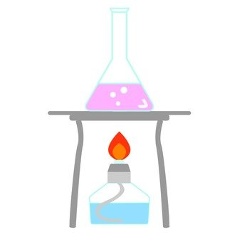 Laboratory alcohol lamp and Erlenmeyer flask