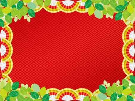 Pattern (165) Fan and red and summer fresh green