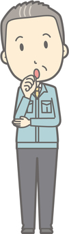 Middle-aged man work clothes - Fumifu - whole body