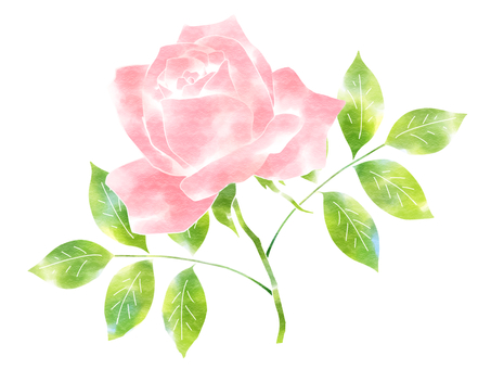 Roses single wheel (stenciling and watercolor style)