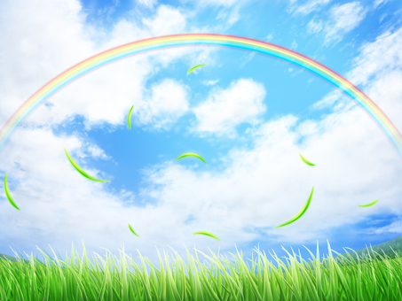 Lawn blue sky leaves rainbow background · wallpaper frame