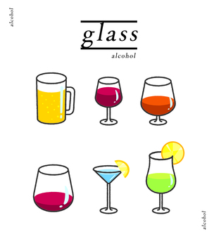 Glass illustration set