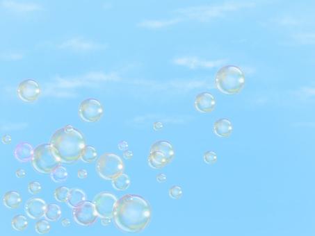 Blue sky and soap bubbles