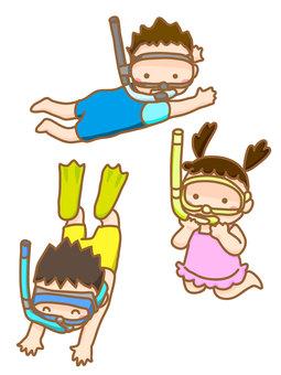 잠수하고있는 아이들