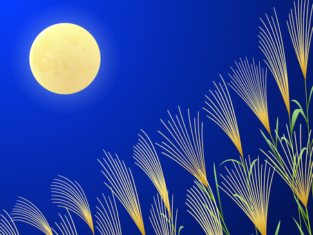 満月とススキの背景3
