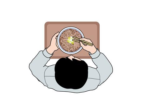 用餐(7)吃蕎麥的男人