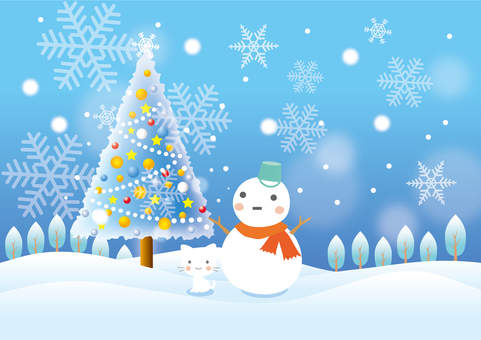 Christmas tree and snowman landscape