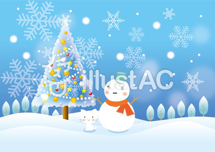 クリスマスツリーと雪だるまの風景イラスト No 582673無料イラスト