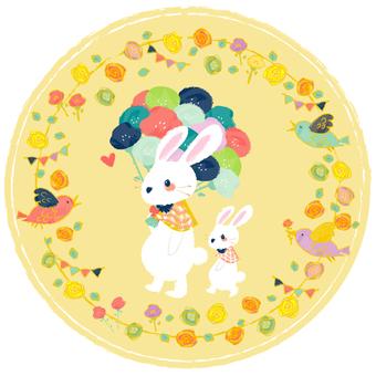 꽃으로 둘러싸인 토끼