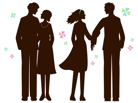 Fashionable couple's silhouette 2