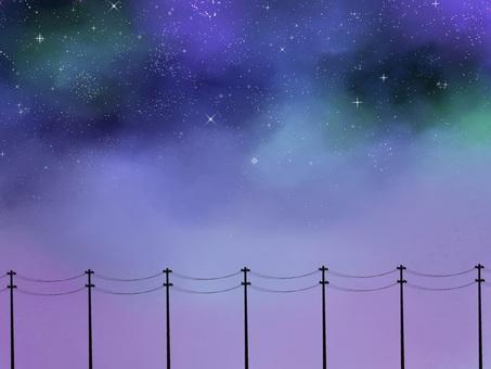 Starry sky and telephone pole