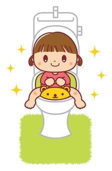 Toilet training girl illustration