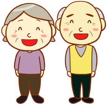 Elderly men and elderly women (smile)