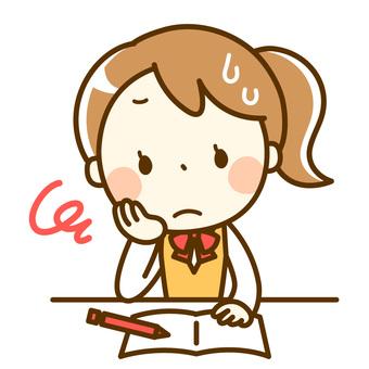 勉強に悩む女子学生