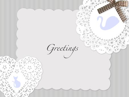 Card race paper (swan & cat motif
