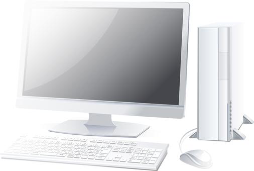 Real desktop PC set white