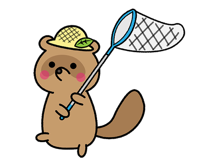 Insect removal raccoon dog summer straw hat summer vacation