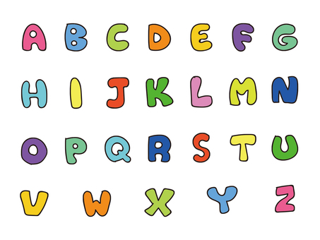 Handwritten alphabet capital letter color set 2