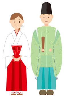 Shinto priestess and shrine maiden green