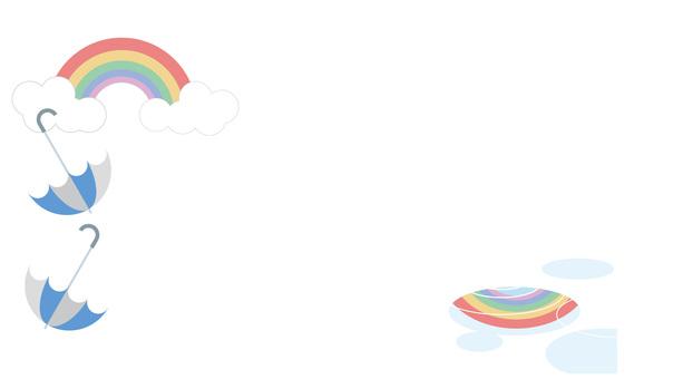 Umbrellas and rainbow