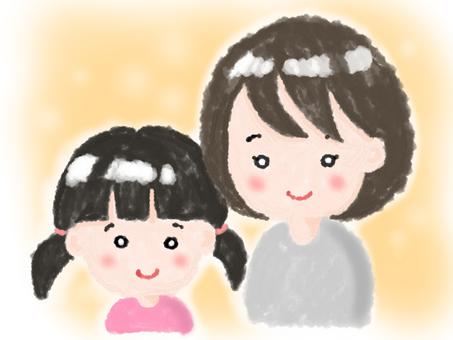 媽媽和女孩(有背景)