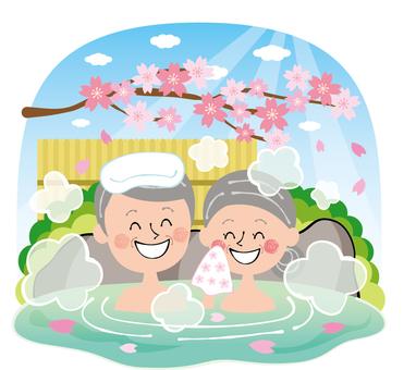 Sakura spring open-air bath family hot spring elderly people with rocky sky