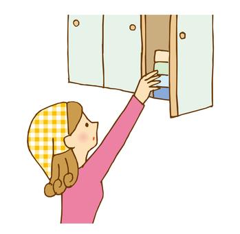 Women taking from cupboards