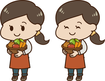 A woman with vegetables