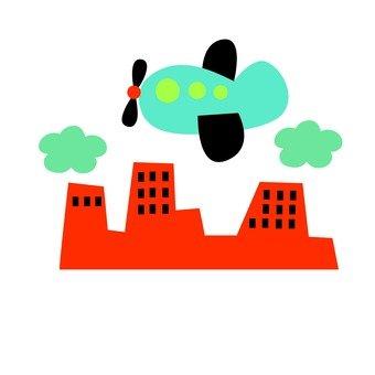 도시 위를 날아 비행기