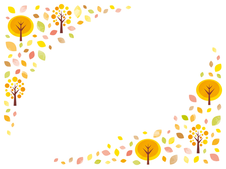 Fall tree leaves background frame in autumn